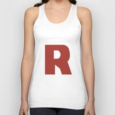 Letter R on White Unisex Tank Top