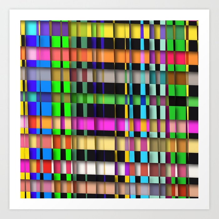 inclined coloured stripes with shadows Art Print