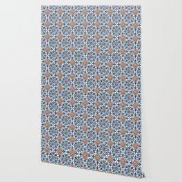 Iznik Tile Pattern Red Blue White Wallpaper