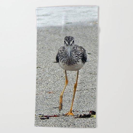 Greater Yellowlegs (Sandpiper) Looking at Camera  Beach Towel