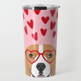 Beagle head love hearts valentines day dog breed must have gifts Travel Mug