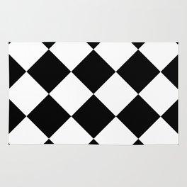 Retro American Diner Tile Black White Rug