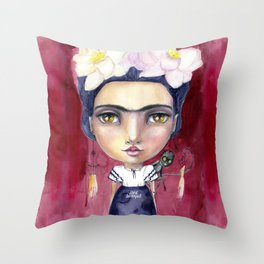 Little Frida by Jane Davenport Throw Pillow