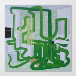 Green Snake In The Bathroom Canvas Print