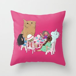 Teatime//because every cat deserves to be spoiled Throw Pillow