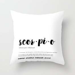 Scorpio - Zodiac Definitions Throw Pillow