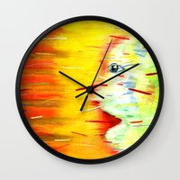 panic at the disco Wall Clocks featuring Panic by Lou Patrou