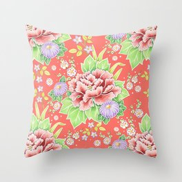 Coral Kimono Chintz Throw Pillow