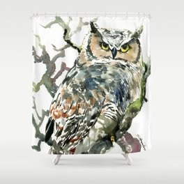 Great Horned Owl in Woods, woodland owl Shower Curtain