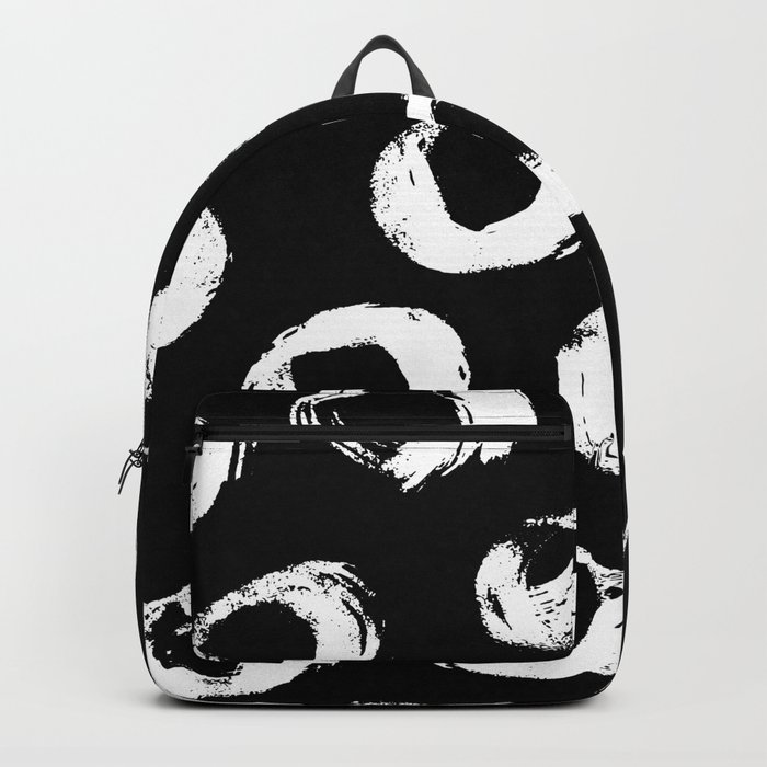Painted Circles White on Black Backpack