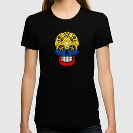Sugar Skull with Roses and Flag of Colombia T-shirt