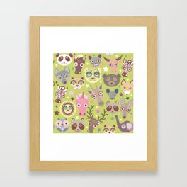 funny animals muzzle seamless pattern, Green background with stars. Vector illustration Framed Art Print