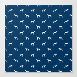 Whippet dog pattern silhouette dog breed minimal navy and white whippets Canvas Print