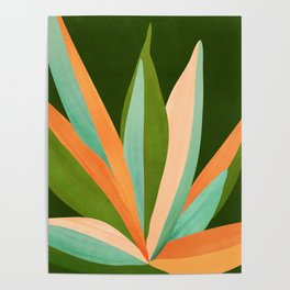 Colorful Agave / Painted Cactus Illustration Poster