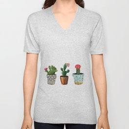 Three Cacti With Flowers On White Background Unisex V-Neck