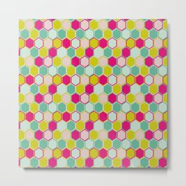 Multicolored Hexagon Shapes Pattern Metal Print