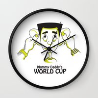 world cup Wall Clocks featuring Mummy Daddy's World cup by Jyoti Khetan