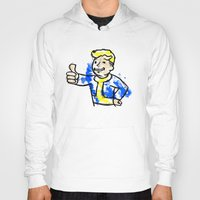 fallout Hoodies featuring Watercolour Fallout by Curious Nonsense.