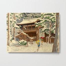 Asano Takeji Snow In Yuki Shrine Vintage Japanese Woodblock Print East Asian Beautiful Art Metal Print
