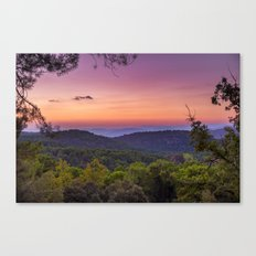 Sunset at the mountains. Forest sunset Canvas Print