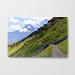 Hiking path in the Swiss alps near Grindelwald Metal Print