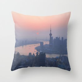 Shanghai at dawn, China. Throw Pillow
