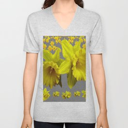 YELLOW DAFFODILS CHARCOAL GREY FLORAL Unisex V-Neck