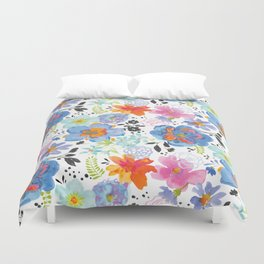 Mixed Media Flowers with Black Accent Flowers Duvet Cover