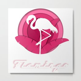 Papercut Flamingo Design 1 Metal Print