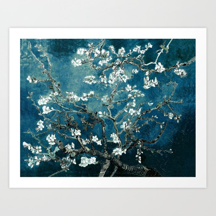 Van Gogh Almond Blossoms : Dark Teal Kunstdrucke