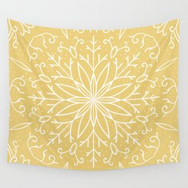 Single Snowflake - Yellow Wall Tapestry