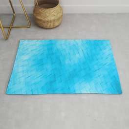 Line texture of light blue oblique dashes with a dark intersection on a luminous charcoal. Rug