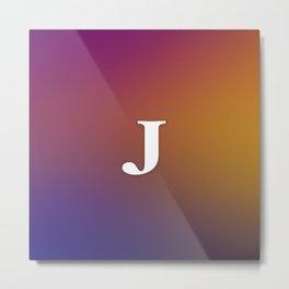 Monogram Letter J Initial Orange & Yellow Vaporwave Metal Print