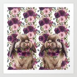 Bunny, Bunny, Purple Floral Art Print