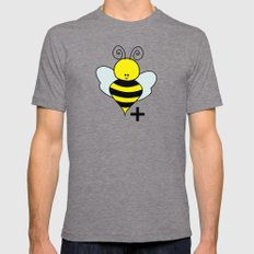 Bee Positive LARGE Tri-Grey Mens Fitted Tee