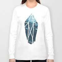 geode Long Sleeve T-shirts featuring Aquamarine Gem Dreams by Leah Flores
