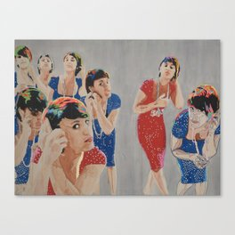 Woman with a Pearl Necklace Canvas Print
