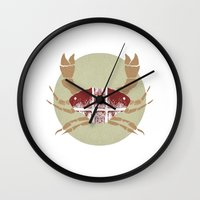 crab Wall Clocks featuring Crab by tangledribbons