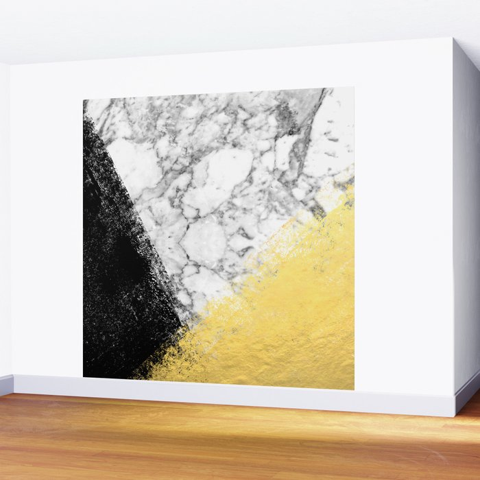 Astra - marble black and gold abstract art minimalist home decor ...
