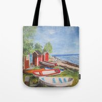 sweden Tote Bags featuring Ystad, Sweden by Bridget Kingsford