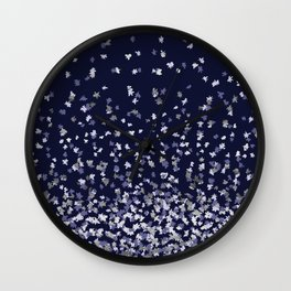 Floating Confetti - Navy Blue and Silver Wall Clock