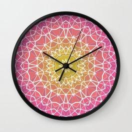 Pink, Orange, and Yellow Kaleidoscope 5 Wall Clock