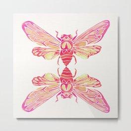 Summer Cicada – Pink Palette Metal Print