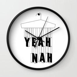 Yeah Nah Wireframe Wall Clock