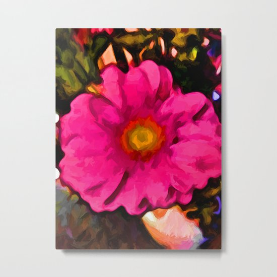 Pink and Yellow Flower with some Orange Metal Print