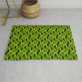 Mystical iridescent green rhombs and black triangles with square volume. Rug