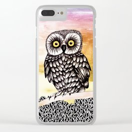 Owl Ink drawing collage Clear iPhone Case