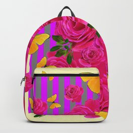 PINK GARDEN ROSES & YELLOW BUTTERFLIES MODERN ART FROM SOCIETY6   BY SHARLESART. Backpack