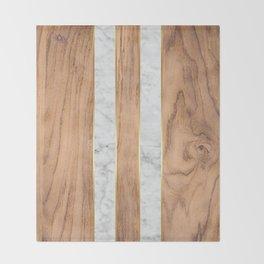 Wood Grain Stripes White Marble #497 Throw Blanket