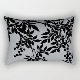 TREE BRANCHES BLACK AND GRAY LEAVES AND BERRIES Rectangular Pillow